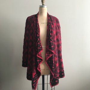 Lucky Brand Red S Tribal Open Front Cardigan